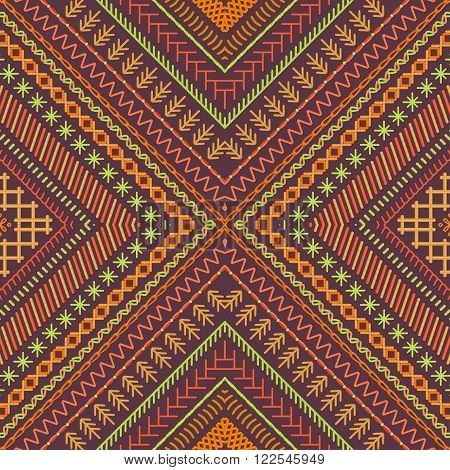 Vector Seamless Tribal Embroidery Pattern.