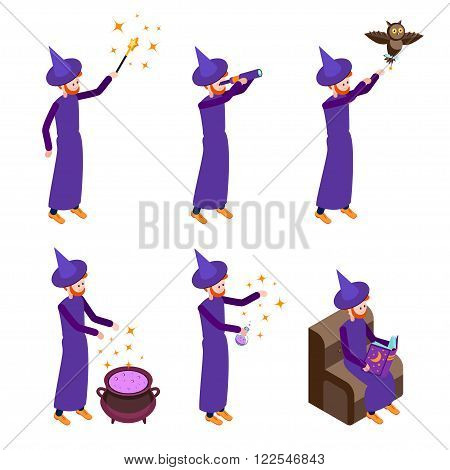 Set of Isometric icons wizard in different poses. Wizard isolated on white background. Vector illustration.