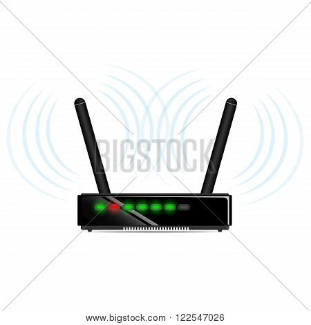 Black wi-fi router with two antennas on the table