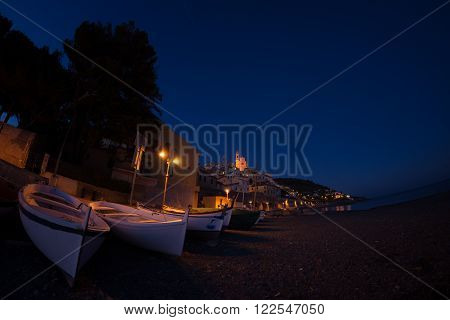 Twilight On The Coastline Of Cervo, Ligurian Riviera, Italy