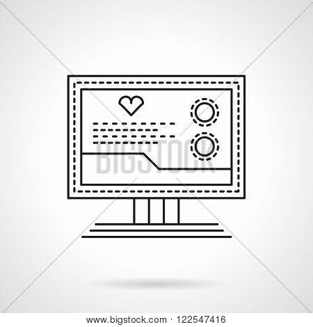 Cardio diagnostics flat thin line vector icon