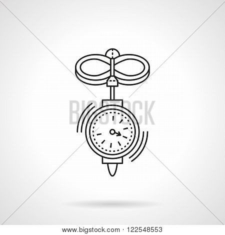 Anemometer flat thin line vector icon