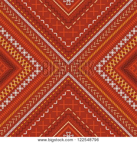 Vector Seamless Red Tribal Embroidery Pattern.