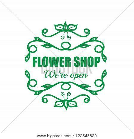Vintage signage for flower shop. Vector logotype on white background.
