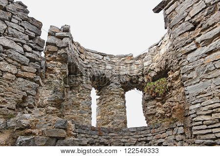 Detail of ruins of the ancient fortress in city of Kamianets-Podilskyi Ukraine