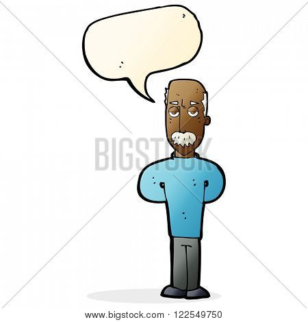 cartoon annoyed balding man with speech bubble