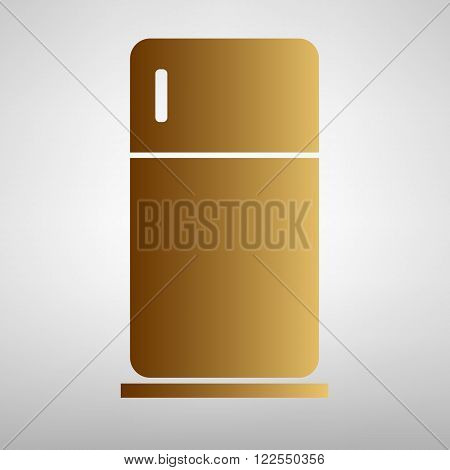 Refrigerator sign. Flat style icon with golden gradient