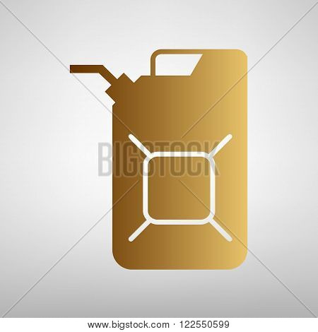 Jerrycan oil sign. Flat style icon with golden gradient