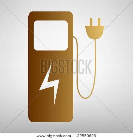Electric car charging station sign. Flat style icon with golden gradient