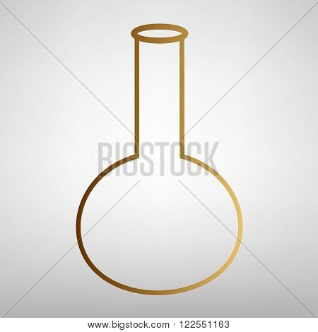 Tube. Laboratory glass sign. Flat style icon with golden gradient