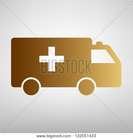 Ambulance sign. Flat style icon with golden gradient