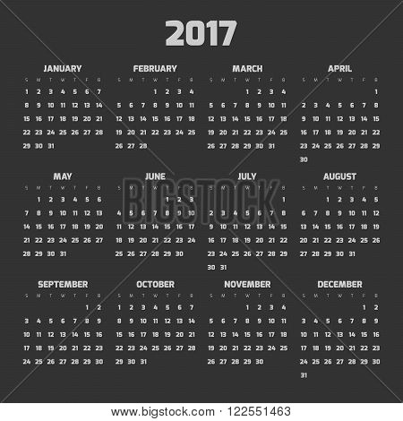 Calendar for year 2017. Four months in three rows. Weeks start on monday. Dark theme.