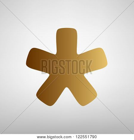 Asterisk star sign. Flat style icon with golden gradient