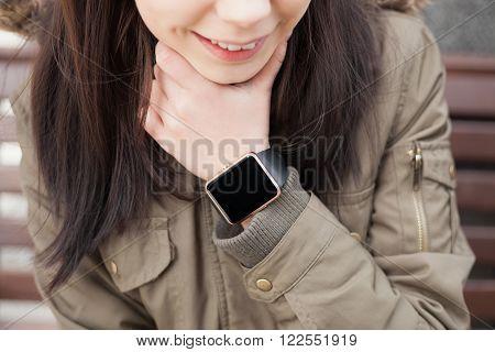 Girl Using Smart Watch