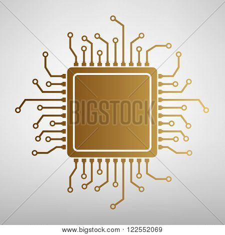CPU Microprocessor. Flat style icon with golden gradient