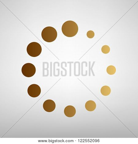 Circular loading sign. Flat style icon with golden gradient