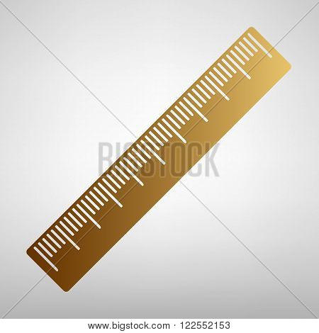 Centimeter ruler sign. Flat style icon with golden gradient