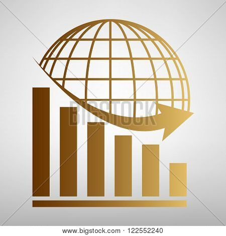 Declining graph  with earth. Flat style icon with golden gradient
