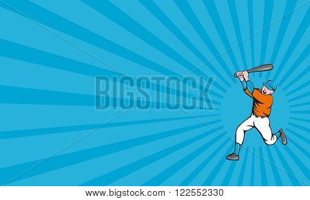 Business card showing illustration of an american baseball player holding bat batting homer home run set on isolated white background done in cartoon style.