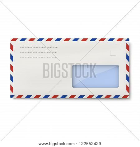White air mail DL envelope with window for address