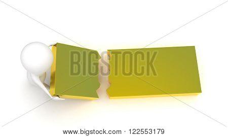 3D Man Holding A Broken Rectangular Box Piece Concept