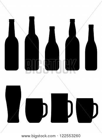 concept black beer bottle and mug set on white background