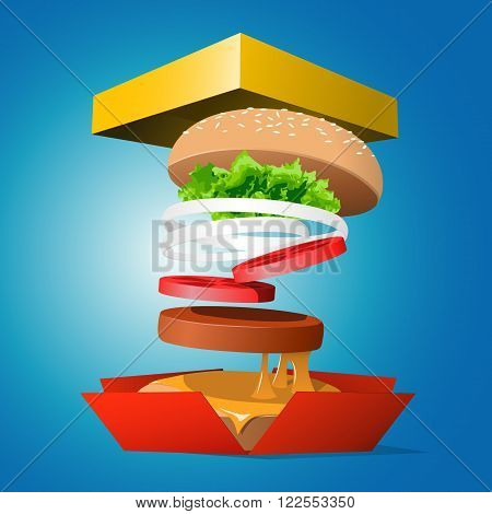 Ingredients hamburger ejected from the packaging. Tasty illustration