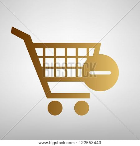 Vector Shopping Cart Remove Icon. Flat style icon with golden gradient