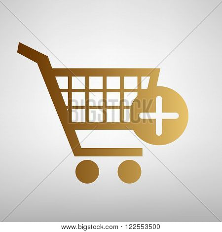 Shopping Cart and add Mark Icon. Flat style icon with golden gradient