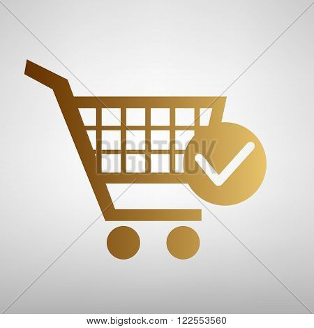 Shopping Cart and Check Mark Icon. Flat style icon with golden gradient