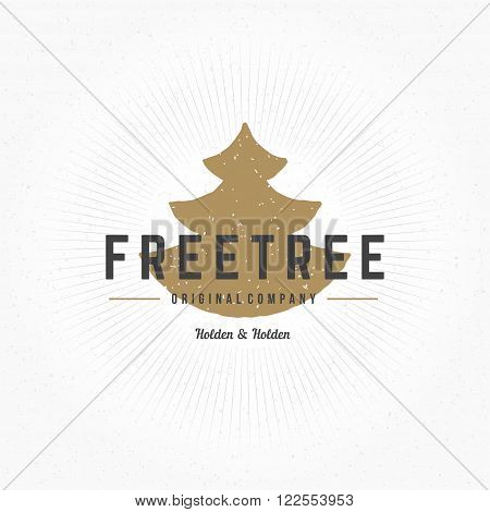 Fir Tree Hand Drawn Logo Template. Vector Design Element Vintage Style for Logotype, Label, Badge, Emblem. Spruce Logo, Forest Symbol, Tree Icon, Fir Tree Silhouette, Retro Logo.