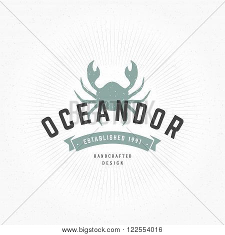 Crab Hand Drawn Design Element in Vintage Style for Sea Food Restaurant Logotype, Label, Badge, T-shirts and other design. Sea Food Retro vector illustration. Crab Silhouette, Retro Logo.