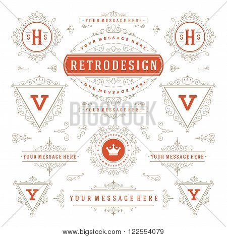 Vintage Vector Ornaments Decorations Design Elements. Flourishes calligraphic combinations Retro Logo, Royal Logos, Crest Logos, Greeting cards, Ornament Logos, Vintage logos, Invitation, Menu Design.