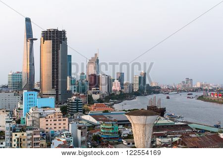 HO CHI MINH CITY, VIETNAM - CIRCA JAN, 2016: Top view of Ho Chi Minh City. Ho Chi Minh, former Saigon, is located in the South of Vietnam, is the country's largest city, population 8 million.