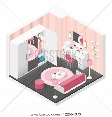 Women room isometric icon set vector graphic illustration