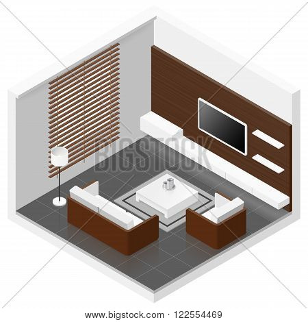 Living room isomertic detailed set vector graphic illustration