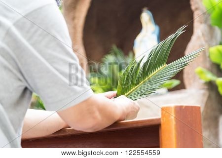 Parishioners Kneel Holding Palm Leaf In Front Of De-focused Grotto