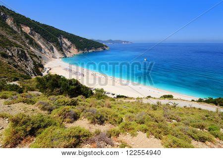 Beautiful beach on Kefalonia island in Greece