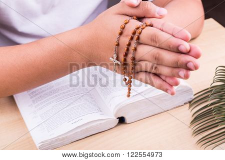 Reciting prayers using Catholic rosary with crucifix and bible