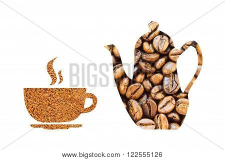 Coffee Pot And A Cup Made Of Coffee Beans On A White Background