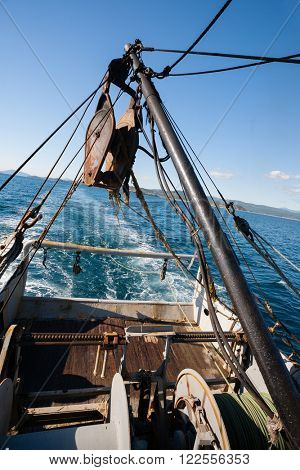 Fishing seiner on fishing in coastal waters. Sea of Japan.
