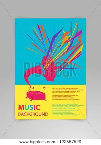 Music background vector template with gramophone and geometric structures. Concept of concert poster or a flyer featuring gramophone in modern style on black background.