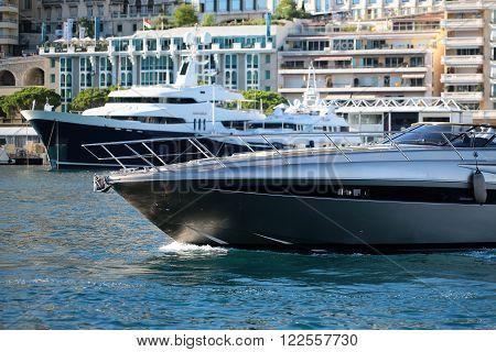 Modern Motor Yacht Floats Inshore