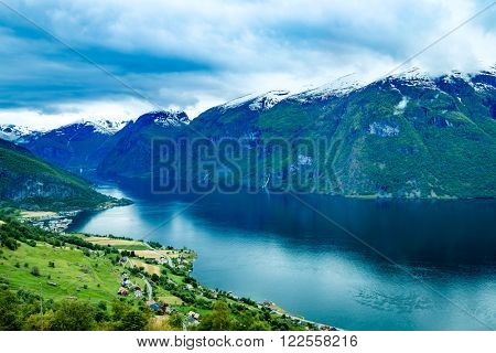 Beautiful Nature Norway natural landscape. Stegastein Lookout.