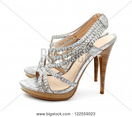 Silver women shoe isolated on white a background