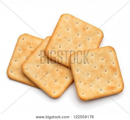 Dry cracker cookies isolated on white background cutout