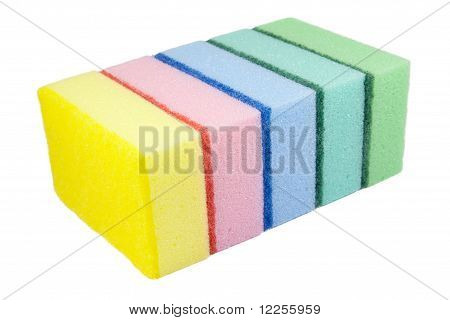 Five Multi-colored Kitchen Sponges