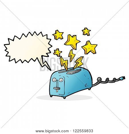 cartoon sparking toaster with speech bubble