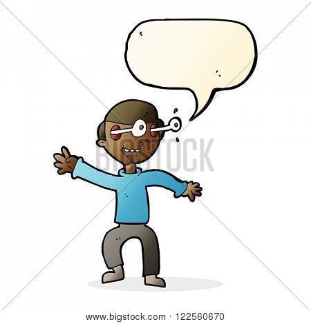 cartoon amazed boy with speech bubble