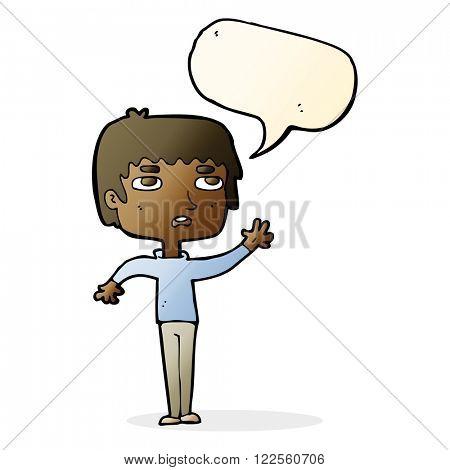 cartoon unhappy boy waving with speech bubble